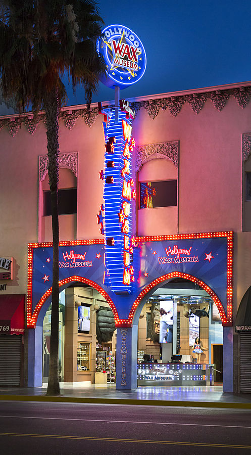 Photograph of the front marquee of the Hollywood Wax Museum in Hollywood CA.
